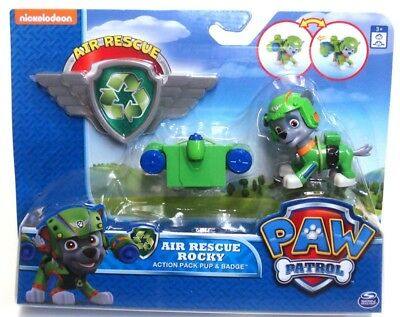 Paw Patrol Air Rescue Rocky Action Pack Pup & Badge