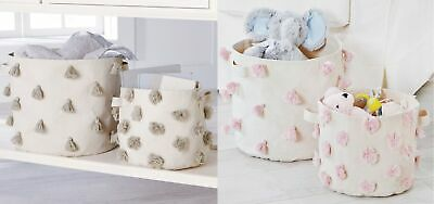 Mud Pie E8 Nursery Decor Tassel Pom-Pom Canvas Storage Bin 2pc Set Choose Color