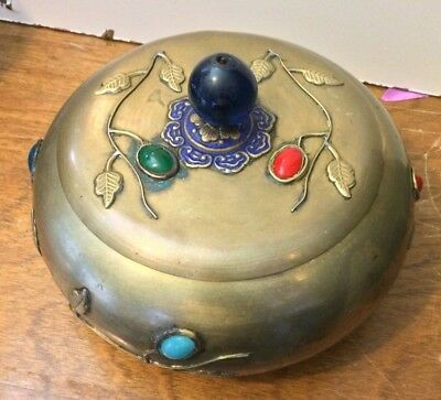 """antique Chinese Stone brass Bowl with Lid 6 1/2"""" Wide and 4"""" Tall"""