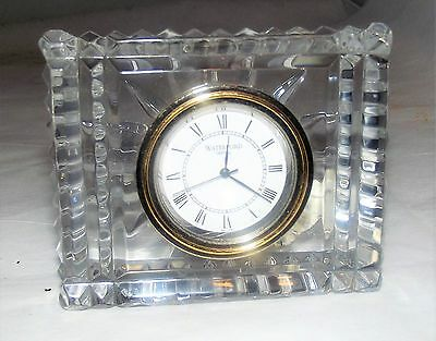 Waterford Crystal Small Desk Clock w/ New Battery w/ Label Mint!