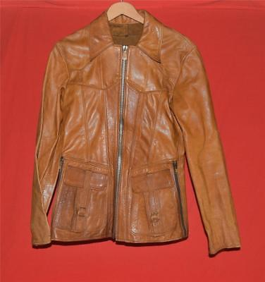 Vintage 1970's Unisex East West Musical Instruments Brown Leather Jacket Size S