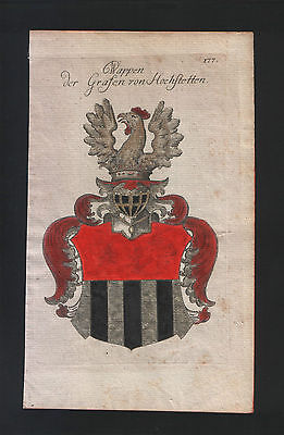 1771 Coat of arms of the Counts of Hochstetten Copper engraving