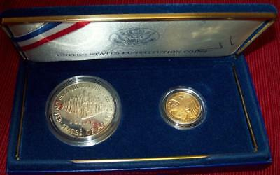 1987 W Proof Five Gold & Silver Dollar Us Constitution Commemortives Coins $5 $1