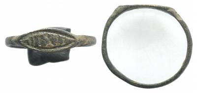 LAC NICE MEDIEVAL BRONZE RING XII- XVI CENT AD !!!  with inscription (R4)