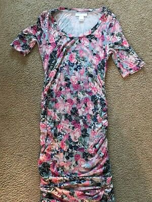 Motherhood Maternity Maternity Blue And Pink Floral Dress Size Small