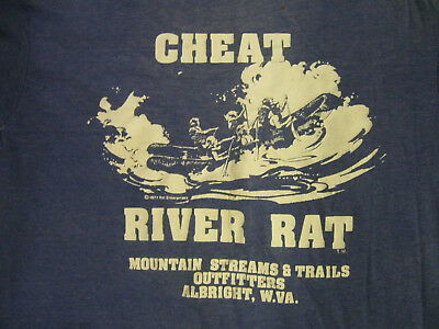 Cheat River Rat Albright West Virginia VINTAGE 70's Whitewater Rafting T Shirt
