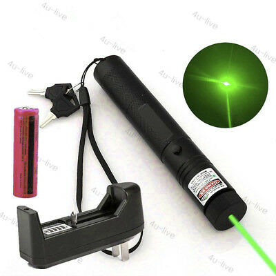 Green Pointer Laser Pen 303 Adjustable Focus 532nm +18650Battery&Charger