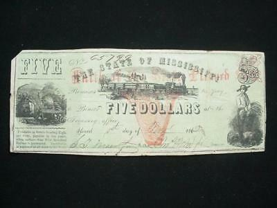 NobleSpirit NO RESERVE Confederate Currency $5 1862 The State of Mississippi