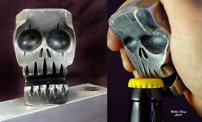 Skull Bottle Opener & Business Card Holder, Forged From A Solid Block Of Steel