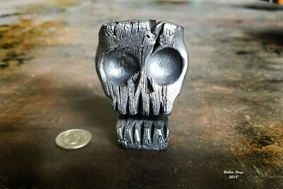 Damascus Skull & Business Card Holder, Forged From A Block Of Damascus Steel