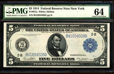 Fr.851A 1914 $5 NEW YORK FRN + PMG CHOICE NEW UNCIRCULATED 64 VERY RARE!