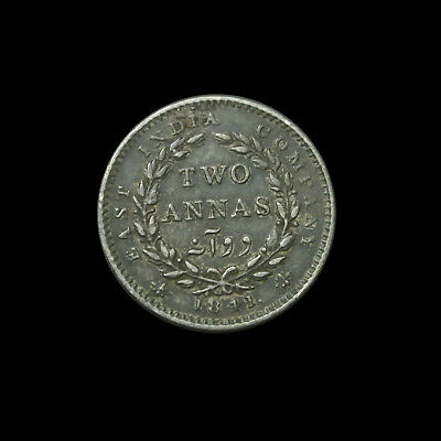 1841 British India Silver 2 Annas - Victoria - Scarce Continuous Legend