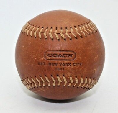 Coach Baseball Ball Tan Brown Leather Paper Weight Office Desk Table Gift