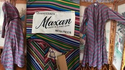 VTG 40s SWING FAILLE MULTICOLOR STRIPED BIAS CUT LOUNGING ROBE USA MAXAN GUC S