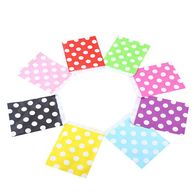 25X Polka Dot Birthday Sweet Favour Popcorn Gift Paper Party Bags 8Color