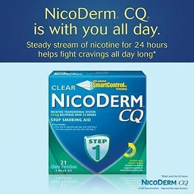 NicoDerm CQ Clear Step 1 - 21mg Nicotine Transdermal System - 21 Clear Patches