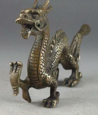 Handwork Hammered Old Chinese Brass Dragon Exorcism Oriental Statue Big Decor NR
