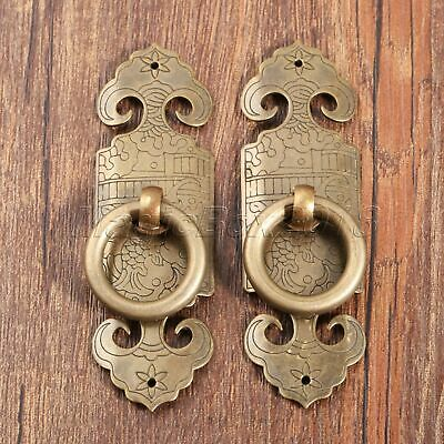 Brass Chinese Dynasty Style Furniture Hardware Door Knock Pull Handle Antique