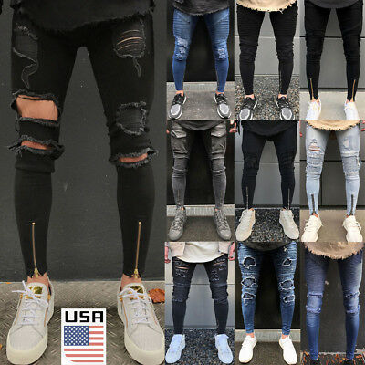 Men's Ripped Skinny Coated Biker Jean zipper Moto Slim Fit Denim Pants US STOCK