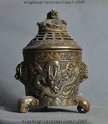 Marked Old Chinese pure bronze dragon elephant head Statue Incense burner Censer