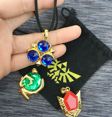Legend of Zelda Spiritual Stones Set of Charms Ocarina of Time 3PC + Custom Bag