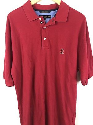 c8dc6d3b0b0 Vintage Tommy Hilfiger Golf 90's Men's Red Polo Rugby Shirt Size Large