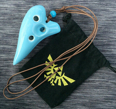 Zelda Ocarina Of Time LINK 7 Holes Ceramic Ocarina Can Play Necklace Pendant Bag