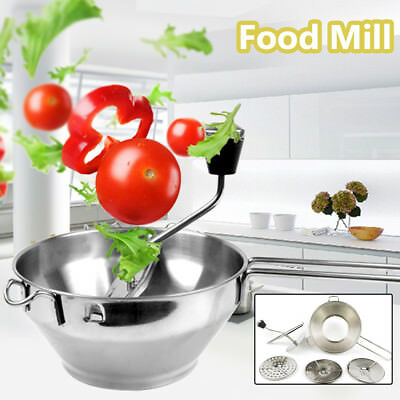 Food Mill Machine Stainless Steel Potato Ricer Fruit Vegetable Graters W/3 Discs