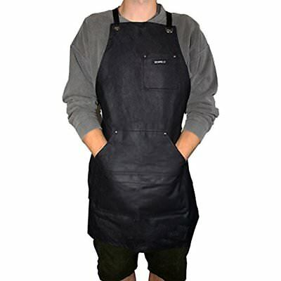 Heavy Duty Waxed Canvas Work Apron In Black By Bizarre.ly - Water Resistant Up &