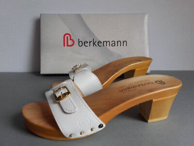 sito affidabile ffdc3 fa21b BERKEMANN 39 PEGGY Weiss Gold Pantolette Mules Zoccoli Sandale Holz Klepper  Clog