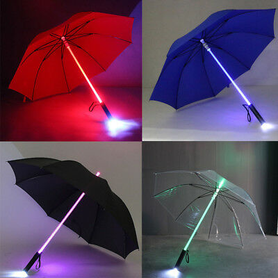 LED Light-Up Umbrella Variable Color Lightsaber Umbrella Unisex With Flashilight