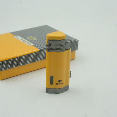 Cohiba Yellow Metal 3 Torch Jet Flame Windproof Cigar Cigarette Lighter W/Punch
