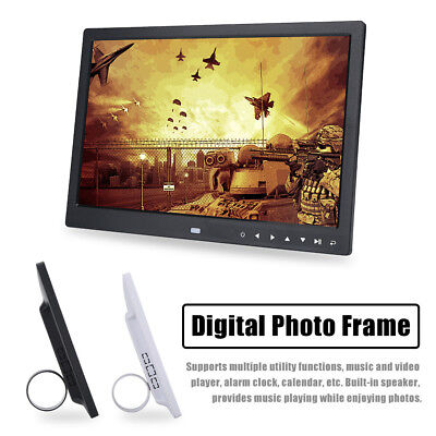 "15"" HD Touchscreen LED Digital Bilderrahmen Fotorahmen Alarm Movie Player + Fern"
