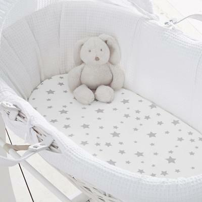Silentnight Safe Nights Moses Basket Fitted Sheet, Grey Stars, Pack of 2