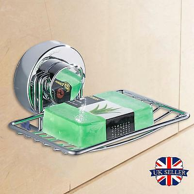 Metal Strong Shower Suction Holder Bathroom Storage Soap Dish Cup Tray Basket