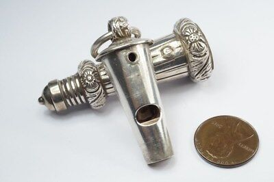 ANTIQUE VICTORIAN ENGLISH STERLING SILVER MILITARY BEAUFORT WHISTLE & CASE c1882