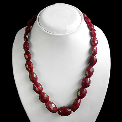 Very Beautiful Fashion 560.00 Cts Natural Oval Shaped Faceted Red Ruby Necklace