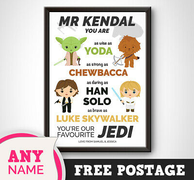 PERSONALISED Star Wars Print Gift Present TEACHER Thank you End Term Mr Picture