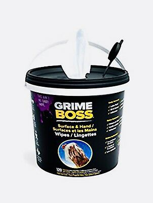 Grime Boss Heavy Duty XL Hands and Surface Wipes Extra Large 120 Bucket Tub