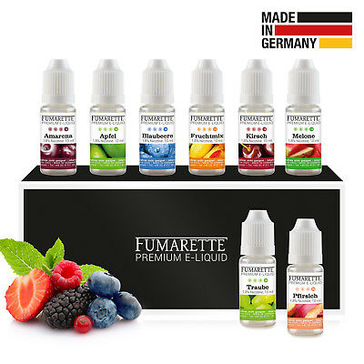 Fumarette Liquid 8er Set, 8x 10ml Fruchtset, 0-18mg eliquid Made in Germany