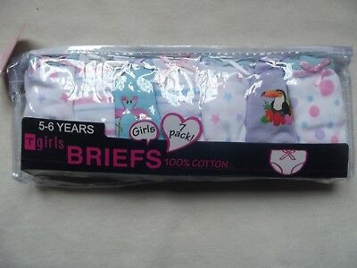 Bnip Girls Pk Of 7 Cotton Pairs Of Cute Knickers Ages 2/3 3/4 5/6 & 7/8 Years