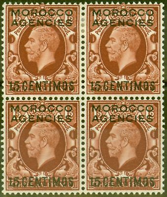 Morocco Agencies 1935 15c on 1 1/2d Red-Brown SG155 Fine MNH & MM Block of 4