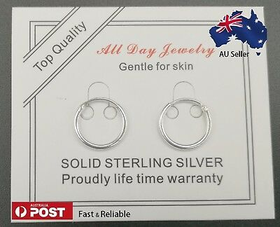 New Solid 925 Sterling Silver Sleepers Hinged Hoop Piercing All Day Earrings