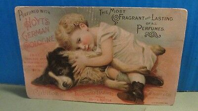 Antique Advertising Card For Hoyt's German Cologne - Great Art Of Dog & Child