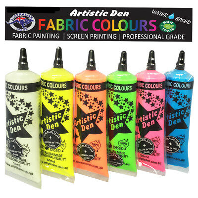 Glow In The Dark Textile Paint  6 x 50ml Uv Glow Fabric Paint