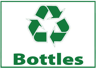 Bottles Waste Bin Self Adhesive Printed Sticker  with Recycle Logo Sign rubbish