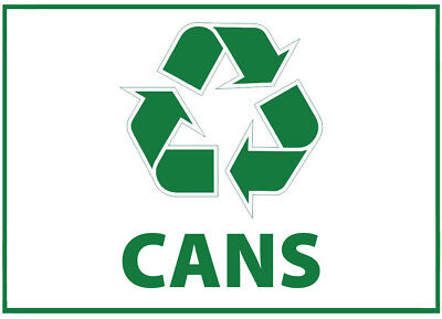Cans Waste Bin Self Adhesive Printed Sticker with Recycle Logo Sign