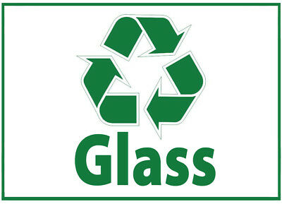 Glass Waste Bin Self Adhesive Printed Sticker with Recycle Logo Sign