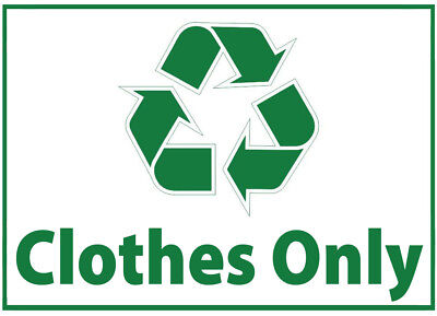 Clothes Waste Bin Self Adhesive Printed Sticker with Recycle Logo Sign