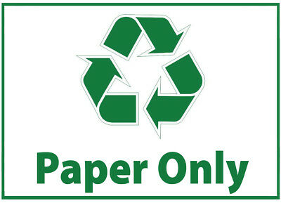 Paper Only Waste Bin Self Adhesive Printed Sticker with Recycle Logo Sign